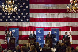 Republican gubernatorial candidates Bill Brady, Kirk Dillard and Dan Rutherford debate term limits, lowering taxes and pension reform at the Union League Club of Chicago on Jan. 22. The candidates will run against Gov. Pat Quinn and progressive activist Teo Hardiman.