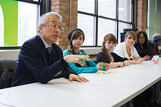 President Kwang-Wu Kim meets with the Student Life Advisory Board Feb. 5 to gather input regarding future tuition increases and scholarship funding.