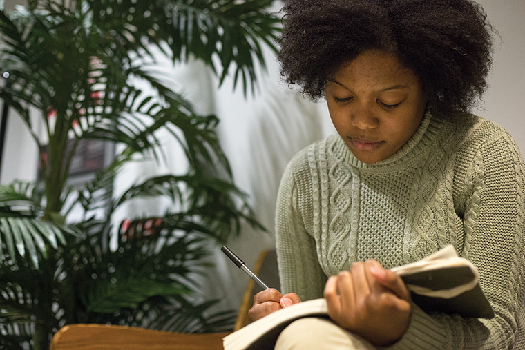 Ehi Ike, who is a freshman fiction writing major, has written and published two novels, each more than 200 pages, about a young girl's kidnapping.
