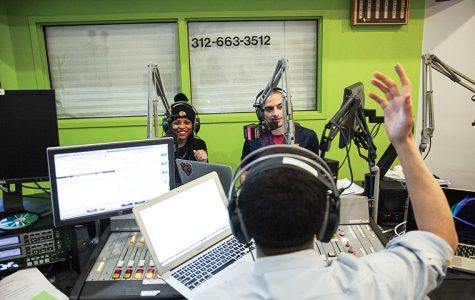 "West Side rapper Bella Bahhs (left) sits in on the ""The Benchwarmers,"" hosted by Chronicle Media Relations Editor Nader Ihmoud (front) and Eduardo Saldana (rear). The Monday night radio show is broadcast on Columbia's WCRX 88.1. Host Ihmoud praised Bahh's song ""Good Loud"" and pleaded with her to release a clean version that he could play on air."