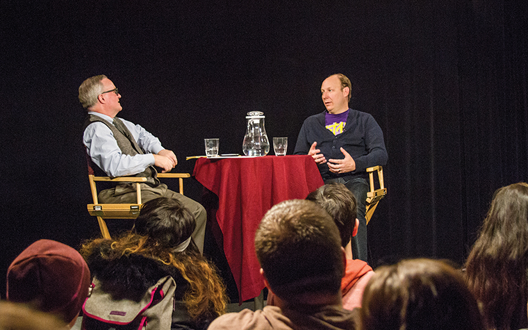 Joe Keefe (left), an adjunct in the Cinema Art + Science Department, interviews Dan Bakkedahl (right). Bakkedahl spoke to students Feb. 24 about life on the road with The Daily Show with Jon Stewart.