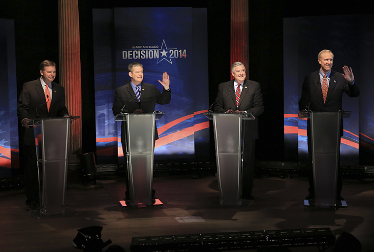 (From left) Republican gubernatorial candidates Bill Brady, Dan Rutherford, Kirk Dillard and Bruce Rauner spoke during a March 4 primary forum to discuss their plans for decreasing the unemployment rate and improving the economy.
