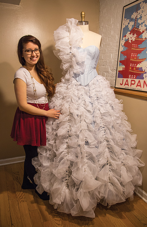 """Dana Digrispino, a senior fashion studies major, was selected to compete in this year's """"Launch 2014: Driving Fashion Forward"""" show April 13, where she vied for a $5,000 cash prize."""