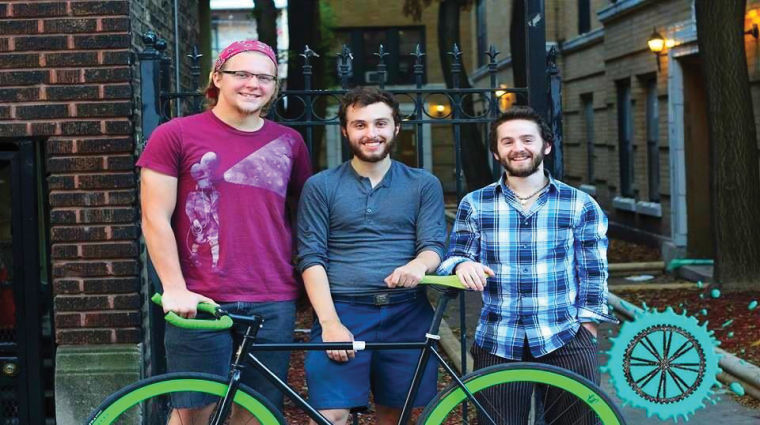Evan Bartlett (right) senior cinema art + science major and president of Young at Heart Adventures will bike from Chicago to Los Angeles with Tim Jacks (middle) senior cinema art + science major and Zack Cieslak (left) cinema art + science alumnus.