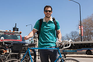The Chicago network of Sustainability in Higher Education sponsored the first Bike2Campus Week April21-25. Students, including senior television major Emmett Lorenz, participated by biking to class.