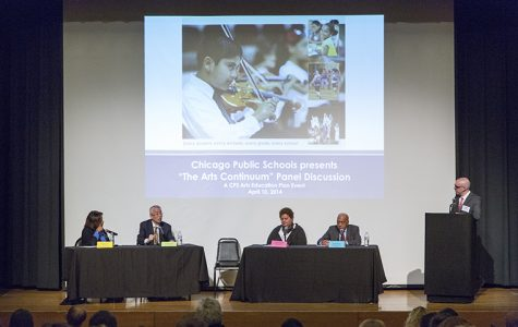 "President Kwang-Wu Kim participates in Chicago Public schools' ""Arts Continuum"" panel April 10 along with Barbara Byrd-Bennett (far left), CEO of CPS."