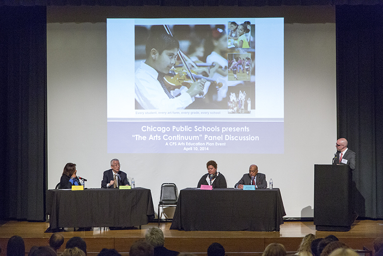 """President Kwang-Wu Kim participates in Chicago Public schools' """"Arts Continuum"""" panel April 10 along with Barbara Byrd-Bennett (far left), CEO of CPS."""