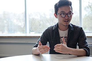 JC Joson, a business & entrepreneurship major, works with local artists through his nonprofit student project, Dear Music Love Music, which was created with Center for Community Arts Partnership.