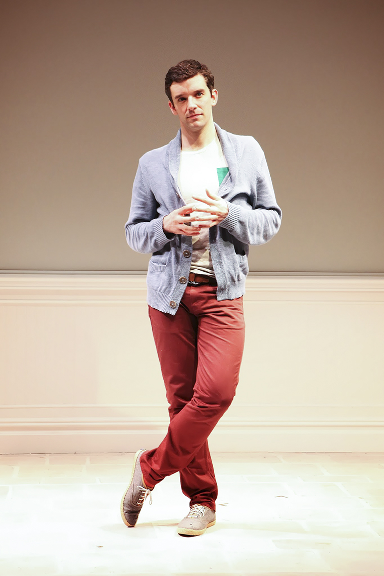 "Michael Urie performs in ""Buyer & Cellar,"" the one-man comedy written by playwright Jonathan Tolins."