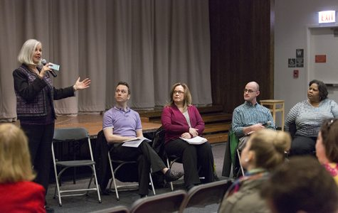 (Far left) Martha Meegan, director of Campus Safety & Security, and other administrators host the Sexual Assault Resource Panel April 30 in Stage Two of the 618 S. Michigan Ave. Building to discuss the college's procedures for handling sexual assault cases and making resources available to victims.
