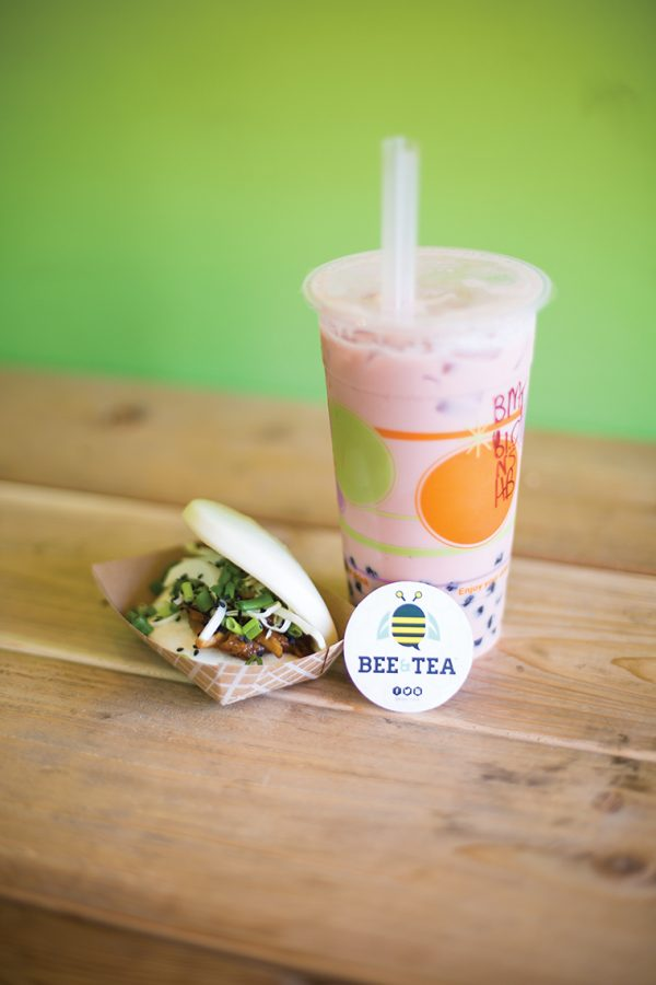 The tapioca boba nicely compliments Bee & Tea's delicious chicken teriyaki bao, making for a delightful snack.