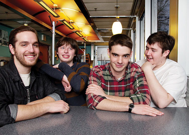 (Left to right) Sean Huber, Ian Farmer, Jake Ewald and Brenden Lukens of Modern Baseball, which charted on the Billboard 200 after the release of its second album You're Gonna Miss It All. the band will appear at Riot Fest in Humboldt Park on Sept. 14 at 6 p.m. on the Revolt Stage.