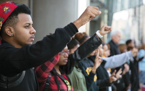 Bernard Mull Jr., a sophomore art + design major, took part in a Sept. 16 demonstration sponsored by the college's Black Student Union to protest the Aug. 9 shooting of Michael Brown at the hands of the police in Ferguson, Missouri. The protest, which took place outside of the 618 S. Michigan Ave. Building, drew more than 100 people.