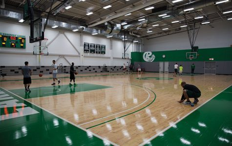 Students play pickup games and interact with fellow students from other South Loop colleges at an open gym, hosted at Roosevelt University's Goodman Center, 501 S. Wabash Ave. The open gym sessions run Monday–Thursday during the semester.