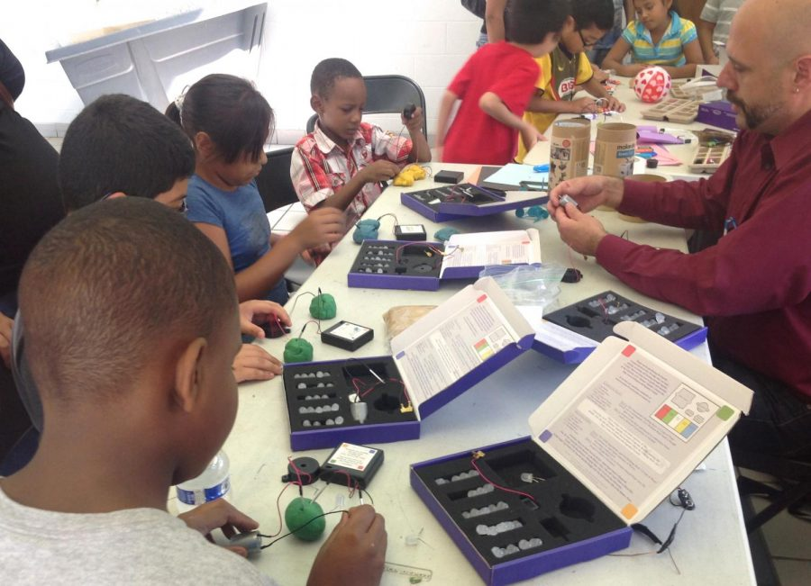 "Eden Unluata (right), adjunct faculty in the Interactive Arts & Media and Interdisciplinary Arts departments, teaches ""Squishy Circuits and Little Bits"" and uses kits that teach students basic circuitry at Donald L. Morrill Math & Science School."