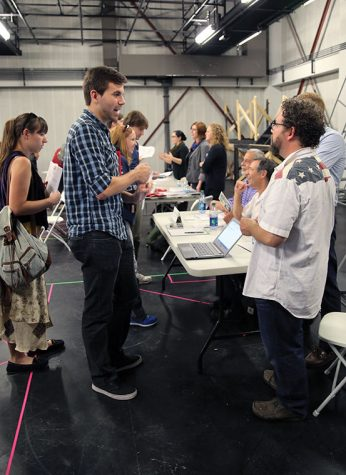 Students speak with industry professionals at the Theatre Department internship fair on Sept. 29 in Studio 404 at the 72 E. 11th St. Building, in hopes of getting an internship opportunity with the participating companies.