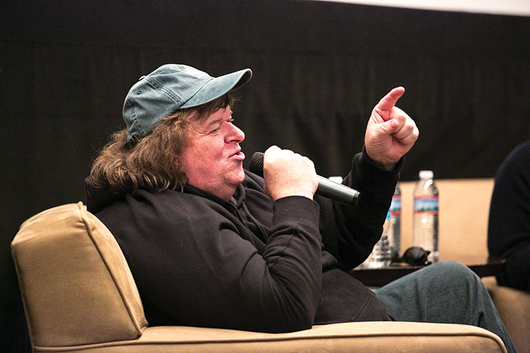 Michael Moore answered student questions and talked about his documentaries and upcoming projects on Oct. 22 at a last-minute Q-and-A event organized by Columbia's cinema art + sciences department and the Chicago International Film Festival at Film Row Cinema in the 1104 S. Wabash Ave. building.
