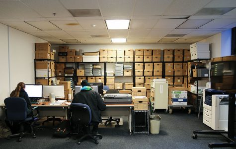 The main office of the college archives on the 4th floor of the 600 S. Michigan Ave. building holds documents relating to Columbia's history. This is one of eight on-campus spaces that houses these archival materials in addition to one off-site storage unit.