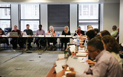 Administrators, including John Green, interim dean of the School of Fine and Performing Arts, and vice president and provost Stan Wearden, attended the Faculty Senate meeting Oct. 3 during which the senate discussed its concerns surrounding the restructuring of the Art + Design Department and the senate's provost appointment policy.