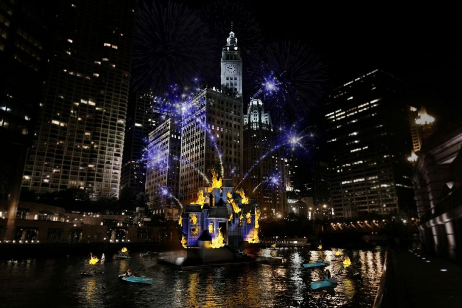 The Grand Spectacle of the Great Chicago Fire Festival was held at the downtown branch of the Chicago River at 8 p.m. The spectacle featured burning houses, three gifts given to the city and fireworks.