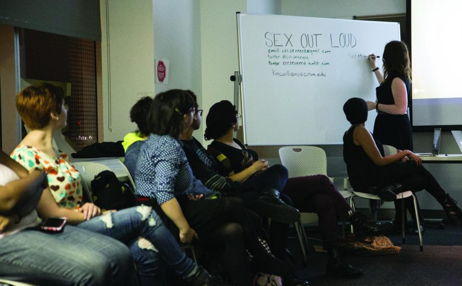"""Students attend a """"Sex Out Loud"""" forum hosted by the college's group of sexuality scholars, the Sex Nerds. These meetings take place every Wednesday from 6:30–8 p.m. in Room 903 of the 618 S. Michigan Ave. Building. Topics, events and excursions will be posted on the event's Facebook page."""