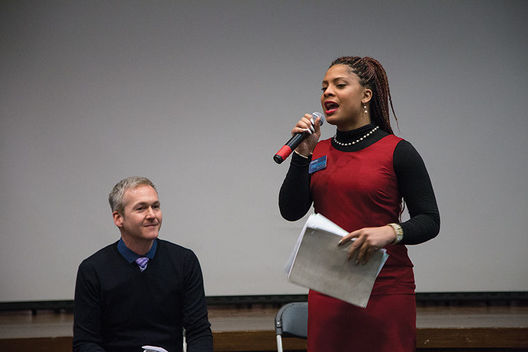 Lott Hill, executive director of the Center for Innovation in Teaching Excellence (left) and Precious Davis, assistant director of diversity recruitment in the Office of Admissions, (right), opened the discussion at the Nov. 18 LGBTQ Forum, setting the tone for attendees to contribute.