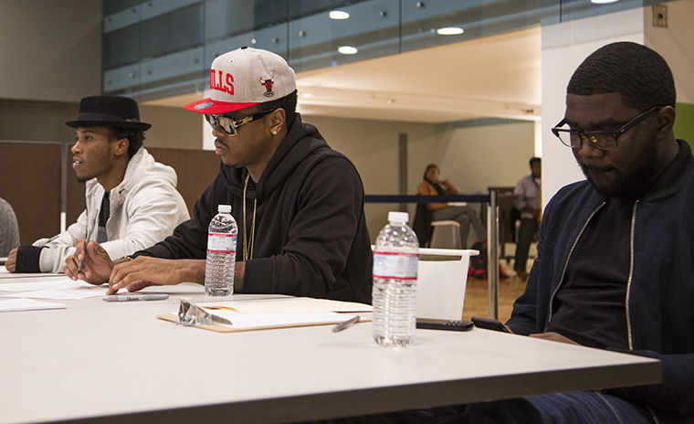 R&B artist Jeremih (center) visited Columbia Nov. 12 to speak with students and hold auditions for his upcoming band tour at the Conaway Center in the 1104 S. Wabash Ave. Building.