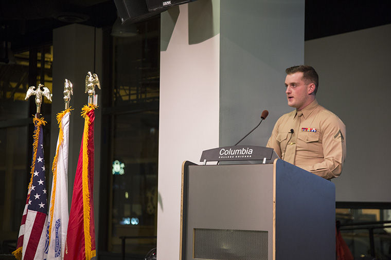 Samuel Cox speaks about his time in the Marine Corps at Columbia's Student Veterans Society's second annual Veterans Day event Nov. 11 at The Conaway Center in the 1104 S. Wabash Ave. Building.
