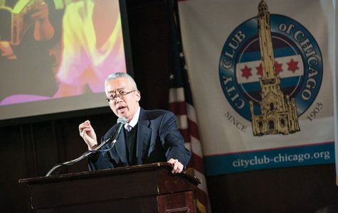 President Kwang-Wu Kim spoke to the City Club of Chicago to raise awareness of the college among the Chicago community at Maggiano's Banquet Restaurant, 111 W. Grand Ave. on Nov 13.