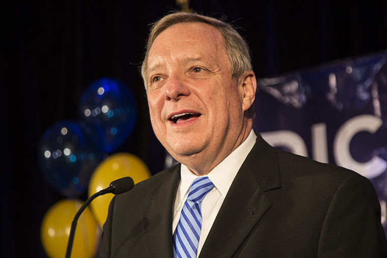 Durbin speaks to his supporters at Westin Hotel, 320 N. Dearborn Street in Chicago, at his election party following his victory over Jim Oberweis.