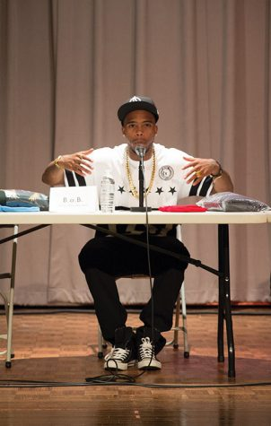 Rapper B.o.B advises students on the importance of developing meaningful industry relationships.