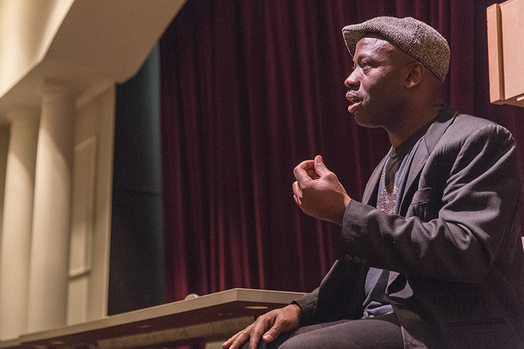 World-renowned beatboxer Napoleon Maddox spoke to students about the importance of knowing the historical origins of their chosen craft during a beatboxing workshop he led as part of the Black Vocality II Symposium hosted by Columbia's Center for Black Music Research.