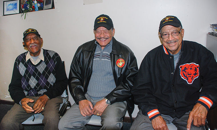 Some of the first black soldiers to serve in the U.S. Marines Corps.