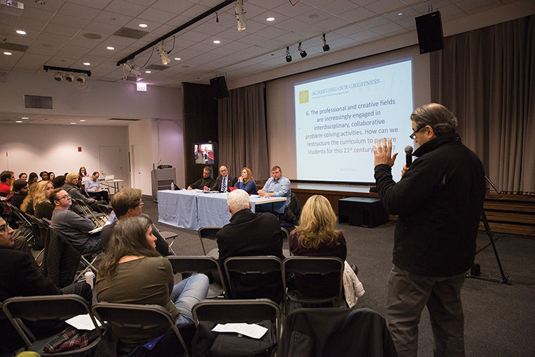Professor Louis Silverstein raised questions at the fourth roundtable discussion Nov. 17 at Stage Two in the 618 S. Michigan Ave. Building.