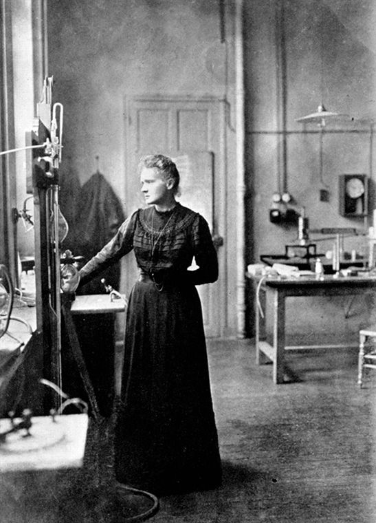 Portrait of Marie Curie in her laboratory