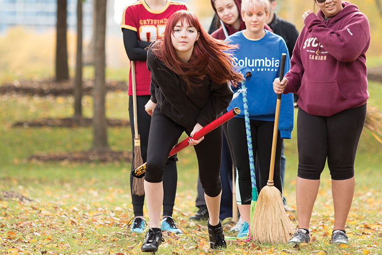 Chloe Streif, co-captain of the Quidditch team, practices drills to get the team prepped for future tournaments.