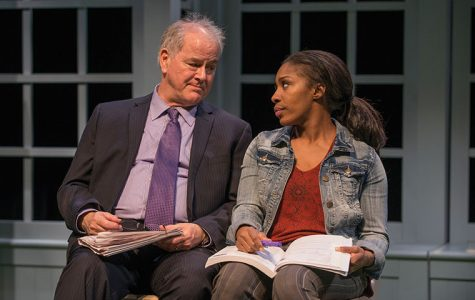 "Francis Guinan and Patrese McClain, star in Bruce Graham's racially charged play, ""White Guy On the Bus,"" at the Northlight Theatre, 9501 Skokie Blvd., in Skokie, Illinois."