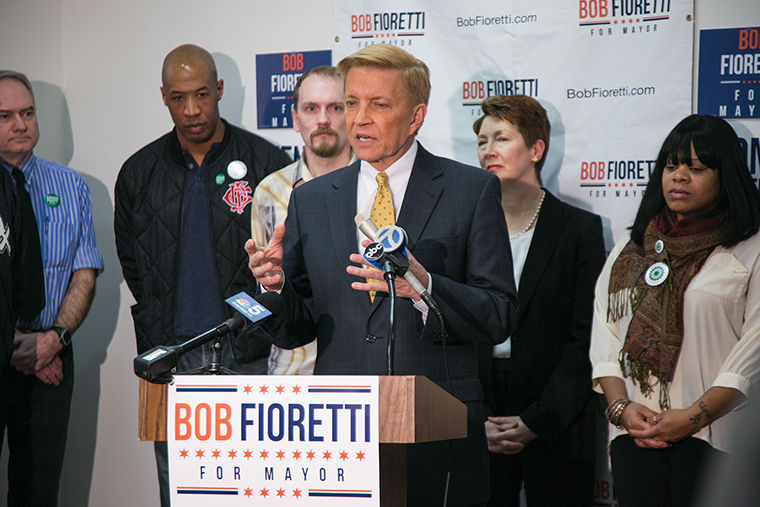 Mayoral candidate Bob Fioretti spoke to the Green Party of Chicago on Jan. 28. Party Chair Phil Huckleberry (directly behind Fioretti) said Fioretti has upheld the party's core values while in office.