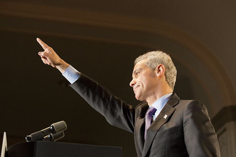 Mayor+Rahm+Emanuel+is+forced+into+a+runoff+by+Jesus+%22Chuy%22+Garcia%2C+a+Cook+County+Commissioner+on+Feb.+24.+Emanuel+delivers+a+triumphant+speech+nonetheless+at+Plumbers+Hall%2C+1340+W.+Washington.