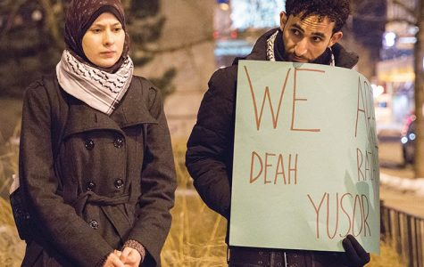 Dania Mukahhal, a senior art + design major, and Ahmed Hamad, a 2014 alum, came together to hold a vigil with citizens and students on Feb. 11, at the Sculpture Garden, on the corner of South Wabash Avenue and 11th Street, after news of the brutal shooting that killed three Muslim students.