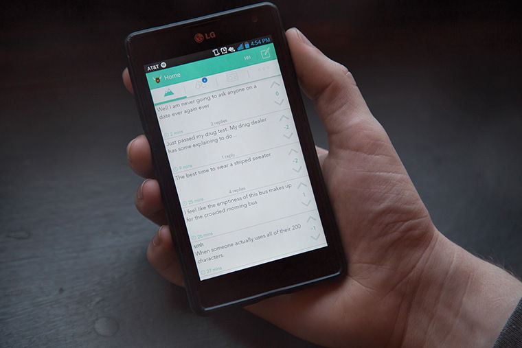Chicago-area college students are posting every 60 seconds on Yik Yak, a social media platform that allows users to post anonymously on a geolocation-centric feed, said Cam Mullen, the company's lead community developer.