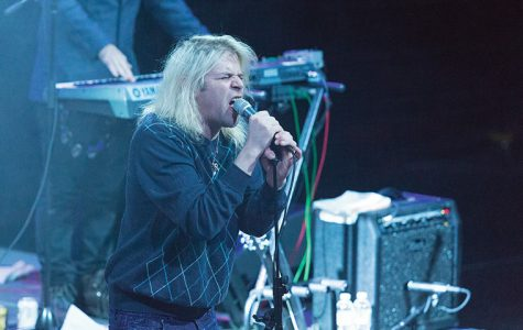 Los Angeles musician Ariel Pink blows kisses to audience members in his spikey rhinestone stilettos,  Feb. 17 during his sold-out show at Thalia Hall, 1807 S. Allport St.