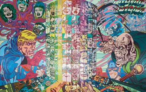 Icelandic artist Erró creates collages using pop culture imagery and American comics. He projects the collages onto large-scale canvas and uses acrylic paints to replicate the images. This exhibit is Erró's first show in Chicago.