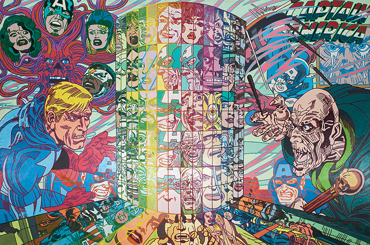 Icelandic+artist+Err%C3%B3+creates+collages+using+pop+culture+imagery+and+American+comics.+He+projects+the+collages+onto+large-scale+canvas+and+uses+acrylic+paints+to+replicate+the+images.+This+exhibit+is+Err%C3%B3%E2%80%99s+first+show+in+Chicago.