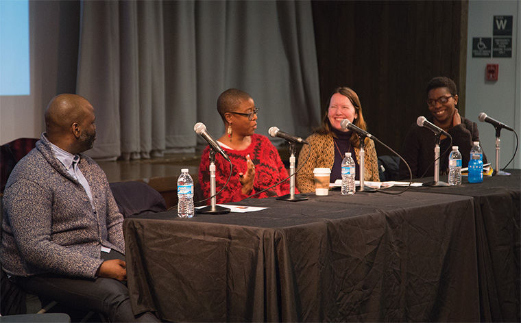 """Local artists visited the college Feb. 17 to discuss how to foster a creative community across the city through collaboration at a panel discussion titled """"All In: Making Art and Community in Chicago."""" The panel was hosted at Stage Two in the 618 S. Michigan Ave. Building."""