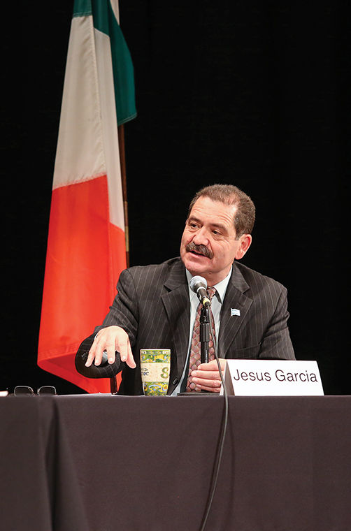 """Cook County Commissioner and mayoral candidate Jesus """"Chuy"""" Garcia spoke at the Portage Park Neighborhood Association-sponsored mayoral forum at the Irish American Heritage Center, 4626 N. Knox Ave."""