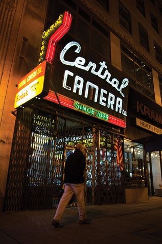 Central Camera Co.'s sign at 230 S. Wabash Ave. is one of the few neon signs left in Chicago. Such signs once illuminated nearly every storefront.