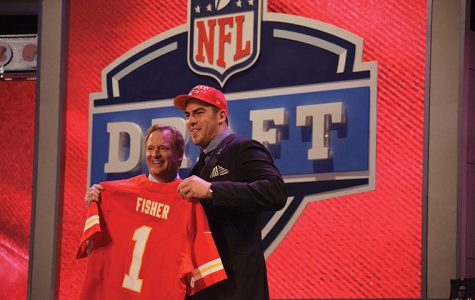 Eric Fisher, offensive tackle from Central Michigan, poses for a photo with NFL commissioner Roger Goodell during the 78th National Football League Draft at Radio City Music Hall in New York, Thursday, April 25, 2013. The Kansas City Chiefs, who had the 1st pick in the draft, chose Fisher. (Chris Szagola/Cal Sport Media via Zuma Press/MCT)