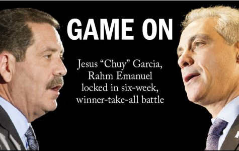 "Mayor Rahm Emanuel and Jesus ""Chuy"" Garcia are being catapulted into six more weeks of campaigning after the Feb. 24 election resulted in a runoff set for April 7, the first since the city switched from the partisan primary system in 1995. Emanuel earned 45.4 percent of the vote and Garcia earned 33.9 percent. Both candidates face harrowing challenges. Garcia must establish himself as more than ""the neighborhood guy,"" but as a leader who can run a city plagued by chronic problems. Emanuel fights against a record marked with school closings, teacher strikes and city violence."