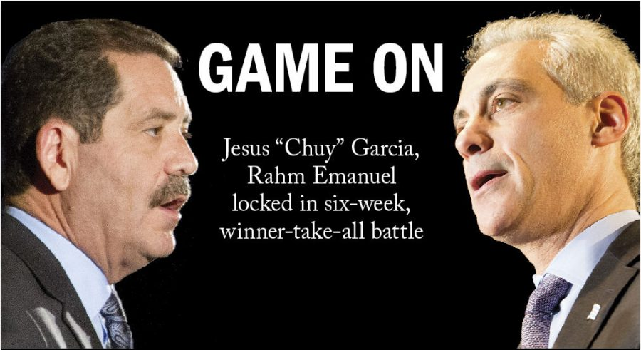 """Mayor Rahm Emanuel and Jesus """"Chuy"""" Garcia are being catapulted into six more weeks of campaigning after the Feb. 24 election resulted in a runoff set forApril 7, the first since the city switched from the partisan primary system in 1995. Emanuel earned 45.4 percent of the vote and Garcia earned 33.9 percent. Both candidates face harrowing challenges. Garcia must establish himself as more than """"the neighborhood guy,"""" but as a leader who can run a city plagued by chronic problems. Emanuel fights against a record marked with school closings, teacher strikes and city violence."""